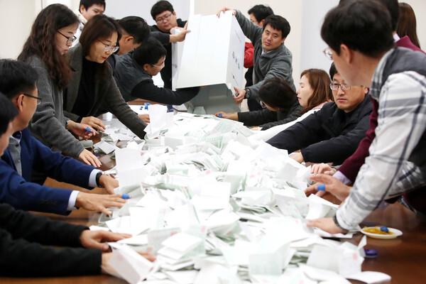 21대 총선 모의개표/뉴스1