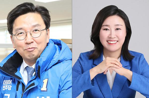 민주당 부산선대위 수석대변인에 임명된 박성현 동래구 후보와 강윤경 수영구 후보. © 뉴스1 DB